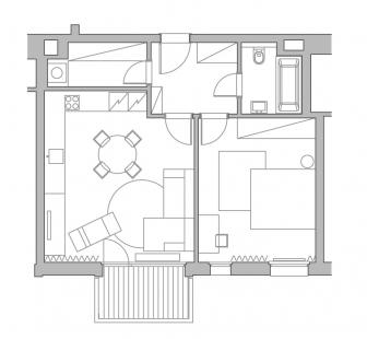 Pánský byt vDocích, Libeň - půdorys bytu - foto: Chmelař architekti