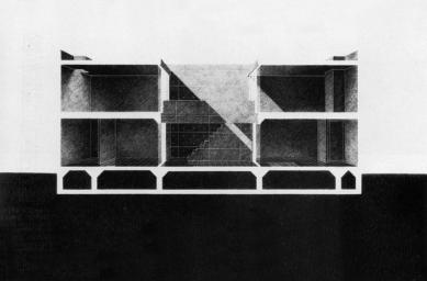 Azuma House - Podélný řez - foto: Tadao Ando Architects & Associates