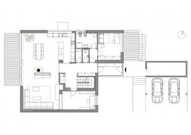 Interiér rodinného domu ve Vonoklasech - Půdorys 1NP