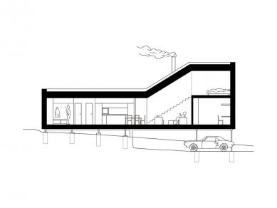 House in Levín - Podélný řez - foto: Raketoplán | Mjölk architekti