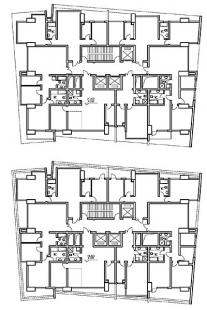 Vertikální apartmány - Půdorys typického podlaží - foto: Amateur Architecture Studio