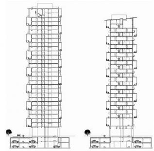 Vertikální apartmány - Řezy - foto: Amateur Architecture Studio