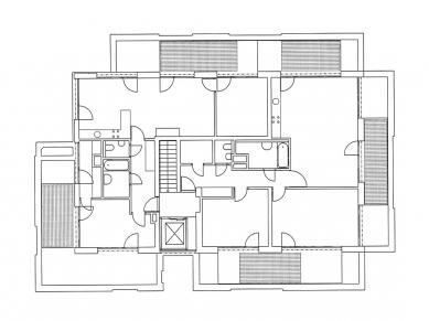 Bytový dům v Komenského ulici - Půdorys nejvyššího patra - foto: Lábus AA