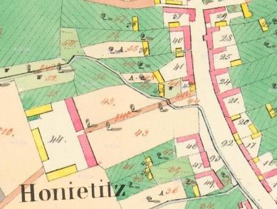 Guest Facilities for a Biotope at Honětice - Historická mapa z roku 1842 - foto: archiv autorů