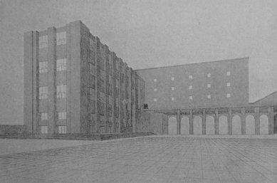 Památník osvobození a Žižkův pomník na Žižkově - soutěžní projekt - Budova musejní