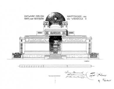 Výstavní pavilon Secession - Čelní pohled - foto: archiv redakce