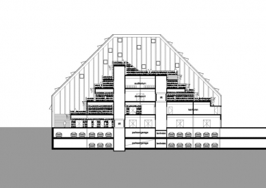 Veřejná knihovna Spijkenisse - Podélný řez - foto: MVRDV