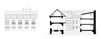 Rekonstrukce domu v Letenské ulici - Pohled a řez