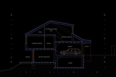Dům ve svahu - Řez