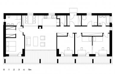 Přízemní dům se slunolamem - Půdorys přízemí - foto: VLADIMÍR BALDA architekt