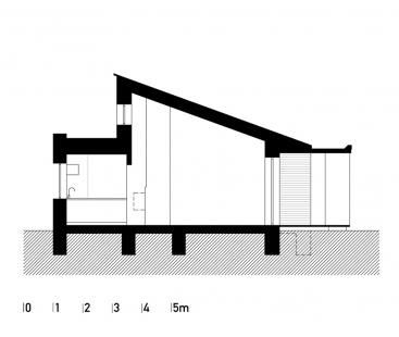 Přízemní dům se slunolamem - Příčný řez - foto: VLADIMÍR BALDA architekt