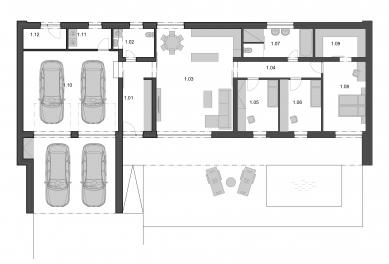 Rodinný dům v Prostředních Bludovicích - Půdorys