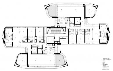 Ardmore Residence - Půdorys 8. NP: 1 rezidenční lobby, 2 balkon s dvojitou výškou, 3 jídelna, 4 obytný prostor, 5 volný prostor, 6 kuchyně, 7 ložnice, 8 hlavní ložnice, 9 hlavní koupelna, 10 venkovní sprcha