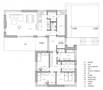 Rodinný dům na Nových Dvorech - Půdorys