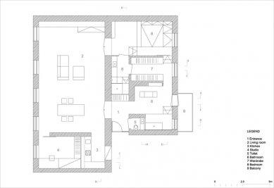 Level Apartment - Pôdorys - foto: OFIS Arhitekti
