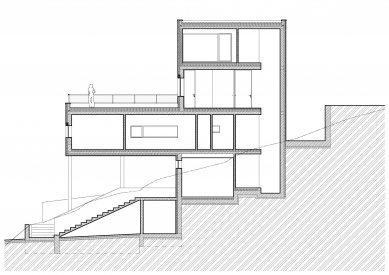Vila Komín - Řez výtahovou šachtou