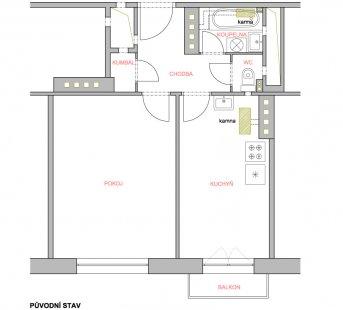 Proměna malého bytu v cihlovém domě - Původní stav