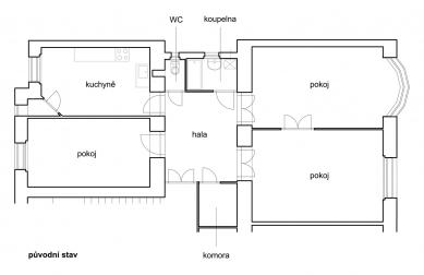 Interiér bytu na Letné - Původní stav