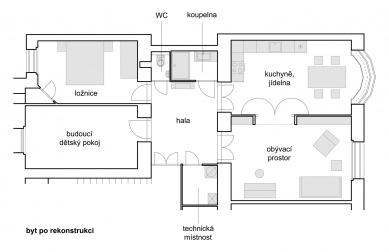 Interiér bytu na Letné - Nový stav