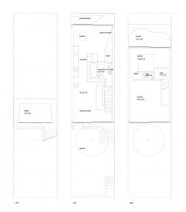 Řadový rodinný dům - Půdorysy - foto: ROHÁČ STRATIL - Architektonický ateliér