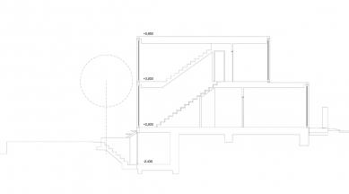 Řadový rodinný dům - Podélný řez - foto: ROHÁČ STRATIL - Architektonický ateliér