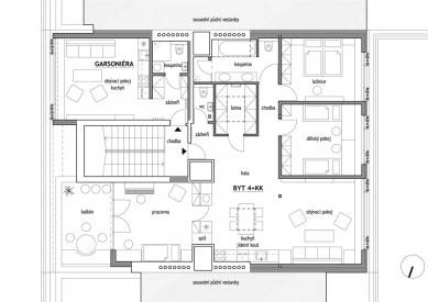 Půdní vestavba dvou bytů  - Půdorys - foto: studio AEIOU