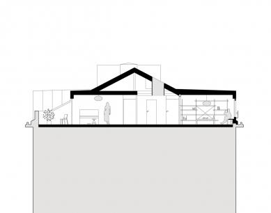 Půdní vestavba dvou bytů  - Řez - foto: studio AEIOU
