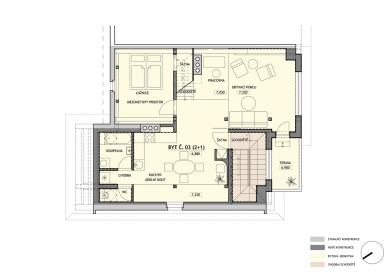 Rekonstrukce rodinného domu Lerchova  - Půdorys 3.np - foto: studio AEIOU