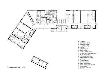 Mateřská školka Omenapuisto - Půdorys přízemí - foto: Arkkitehtitoimisto Seppo Häkli Ky