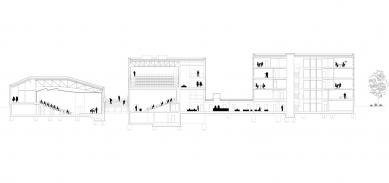 Univerzitní knihovna a Multifunkční centrum UJEP - Podélný řez - foto: SIAL architekti a inženýři