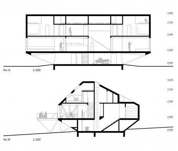 Nová Kežmarská chata - vítězný návrh - Řezy