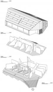 Nová Kežmarská chata - vítězný návrh - Axonometrie