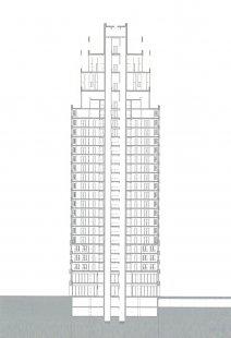 Mainplaza Highrise - Řez - foto: Kollhoff Architekten