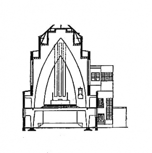 Kostel Hohenzollernplatz - Příčný řez kostelem