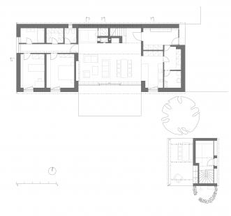 Novostavba rodinného domu, Praha–východ - Půdorys přízemí