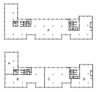 Administrativní budova Rohan – River Garden - Půdorys typického podlaží