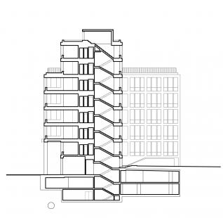 Administrativní budova Rohan – River Garden - Řez