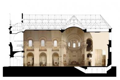 Rekonstrukce kostela Nalezení svatého Kříže vLitomyšli - Řez podélný