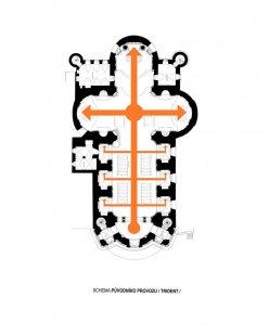 Rekonstrukce kostela Nalezení svatého Kříže vLitomyšli - Přízemí - schéma, provoz původní