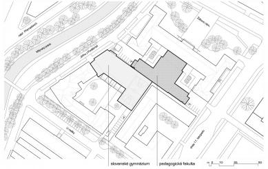 Výzkumně vzdělávací areál Pdf UP v Olomouci - Situace