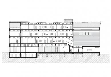 Dostavba budovy Slovanského gymnázia v Olomouci - Řez B
