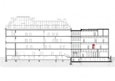 Dostavba budovy Slovanského gymnázia v Olomouci - Řez A