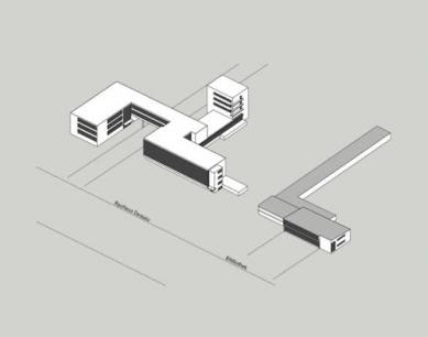 Přestavba Café am Bauhaus na knihovnu Bauhaus - Axonomerie - foto: Reiner Becker Architekten