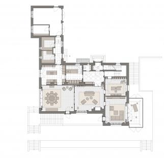 Obnova vily Münz - Půdorys 1NP