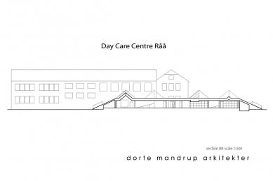 Mateřská škola Råå - Podélný řez - foto: Dorte Mandrup Arkitekter