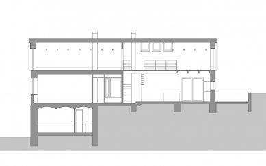 Přestavba bývalého obecního úřadu na rekreační bydlení - Řez podélný - foto: caraa