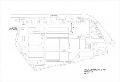 Konverze interieru továrního prostoru na zázemí firmy SIO2 - Situace