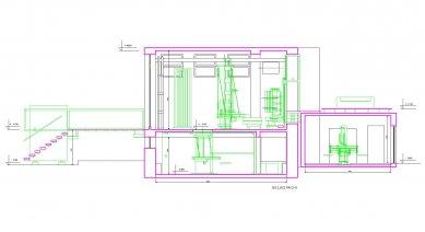 Konverze interieru továrního prostoru na zázemí firmy SIO2 - Řez