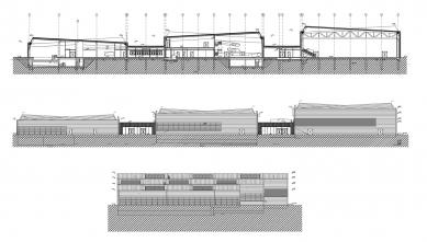 Komplex bazénů a sportovišť Jedenáctka VS - Řez, pohledy