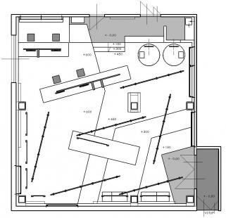 Konverze interiéru showroom Poshme - Půdorys